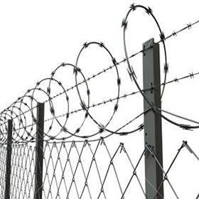 Security Chain Link Fence With Razor Toppings Fence